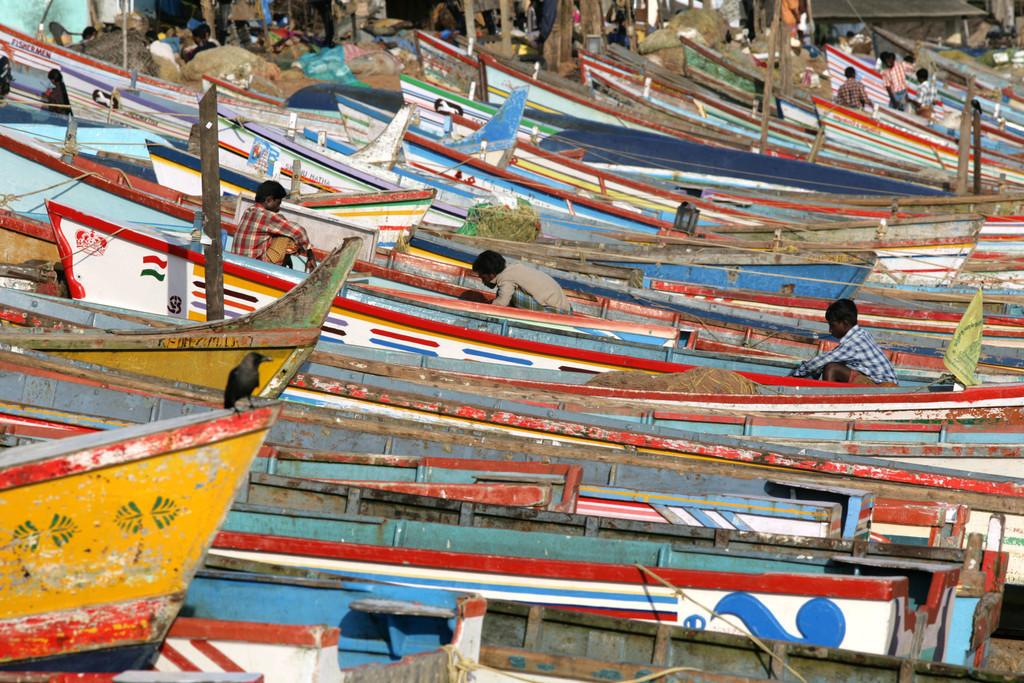 Indien, Kerala | Indien, Kerala, Trivandrum, Fischerboote am Strand,