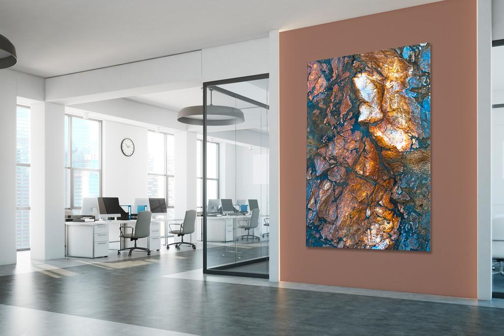 Eingangsbereich mit Steinmotiv | Anwendungsbeispiel für eine Wandgestaltung für den Eingangsbereich in Ihrem Unternehmen. Sie finden das Motiv in der Galerie Farben und Formen - Strukturen und Muster