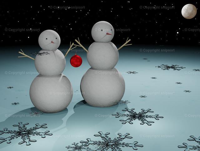 Zwei Weihnachtsmänner in der Winterlandschaft | Zwei Weihnachtsmänner in einer surrealen nächtlichen Winterlandschaft im Mondschein (3D-Rendering).
