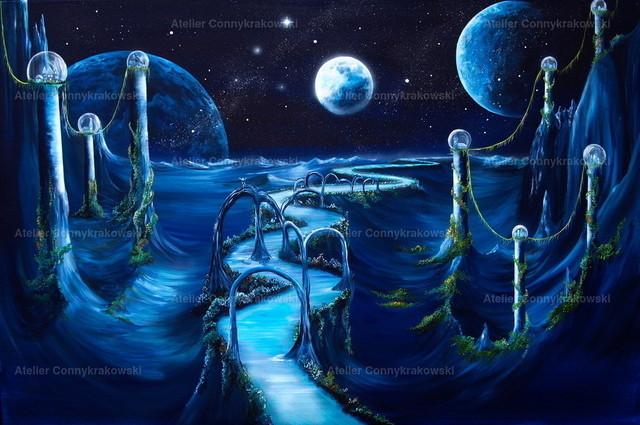 Space Night (2) | Phantastischer Realismus aus dem Atelier Conny Krakowski. Verkäuflich als Poster, Leinwanddruck und vieles mehr.