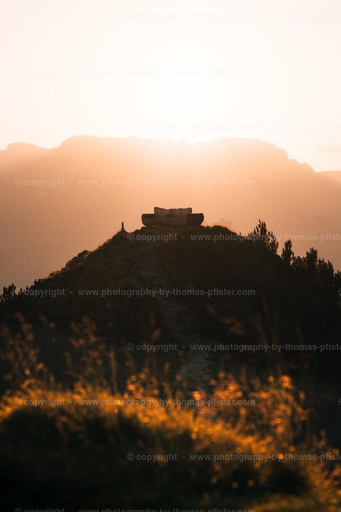 Gratlspitze Bank im Sonnenuntergang