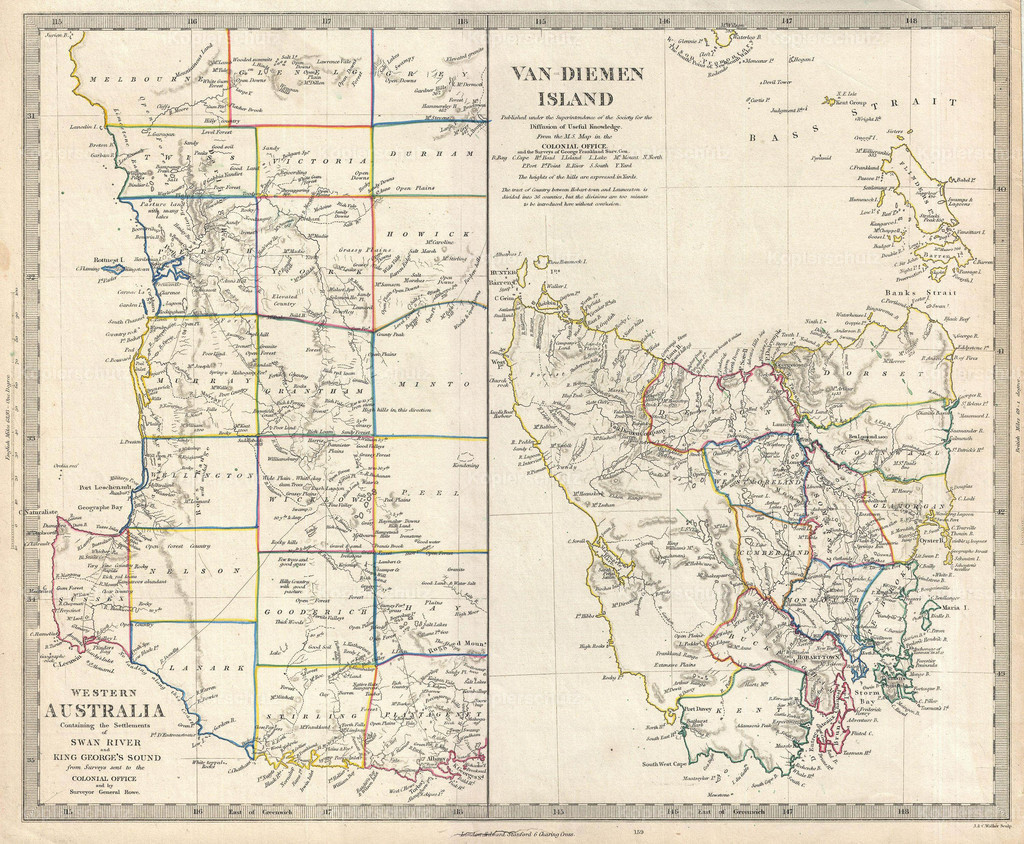 1849_S.D.U.K._Map_of_Tasmania_or_Van_Diemen_s_Land_and_Western_Australia