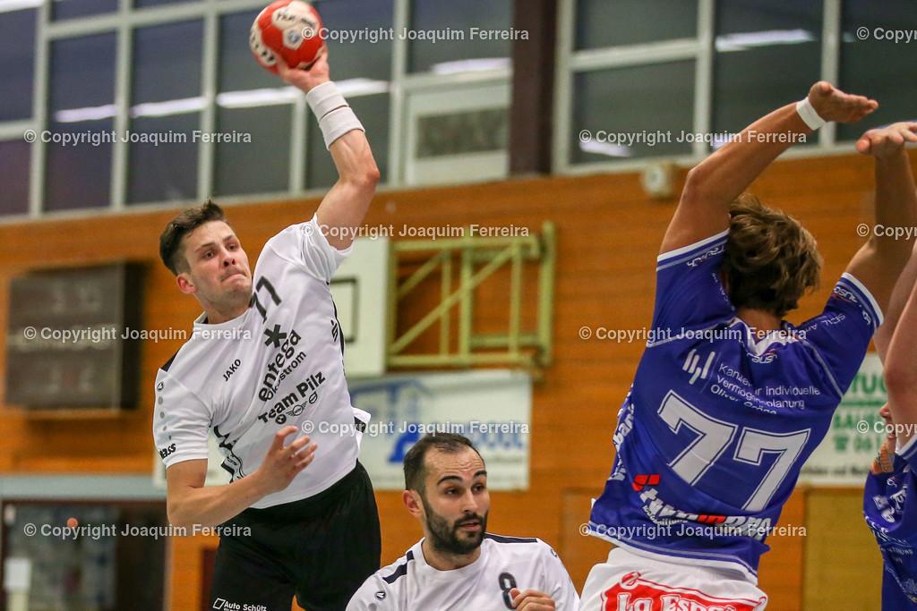190913_msg_0240 | despor 2019.09.13 HHV Handball Männer Oberliga MSG Umstadt/Habitzheim gegen TuS Dotzheim emspor, emonline, despor,  v.l.,  Wurf von Tom Seifert (MSG Umstadt/Habitzheim),  David Asic (MSG Umstadt/Habitzheim), #77 Max Kaczmarek (TUS Dotzheim) Foto: Joaquim Ferreira