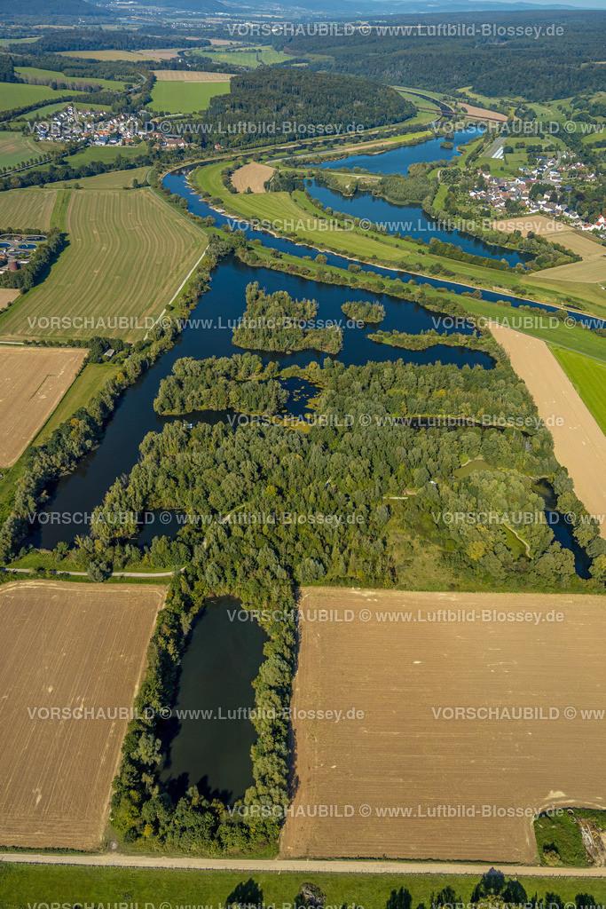 Beverungen200911628Osterfeldsee   Luftbild, Fluss Weser, Osterfeldsee in Nordrhein-Westfalen, Meinbrexen See in Niedersachsen, Meinbrexen, Beverungen, Ostwestfalen-Lippe, Nordrhein-Westfalen, Deutschland
