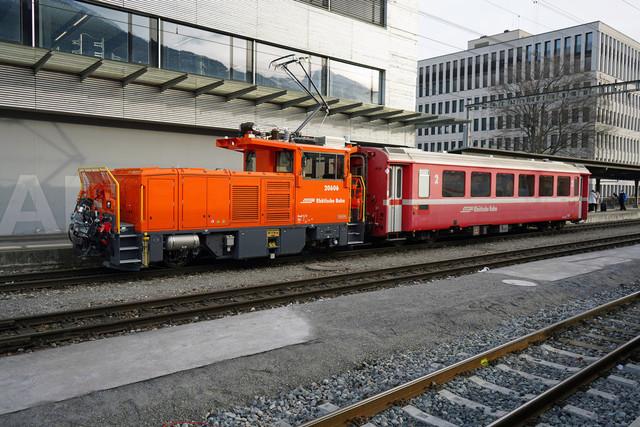 RhB Geaf 2/2 20606 | Eine Rangierbewegung am Bahnhof in Landquart.