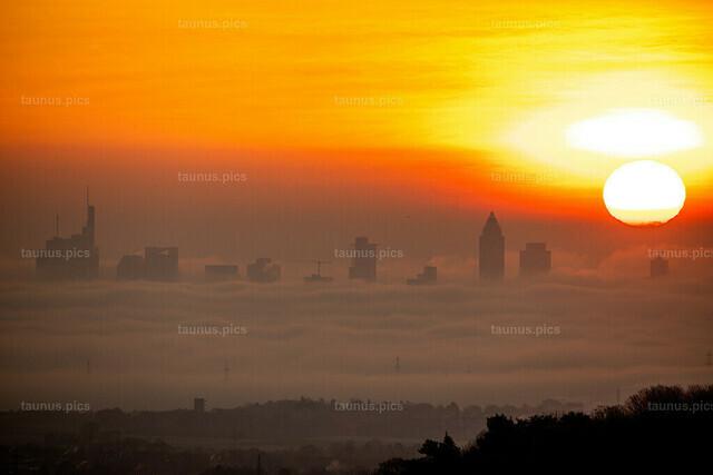 Sonnenaufgang über Frankfurt im Nebel   04.12.2019, Kronberg (Hessen): Die Sonne geht vom Opel Zoo aus gesehen über der Frankfurter Skyline auf, deren Hochhäuser aus einer Nebeldecke ragen.