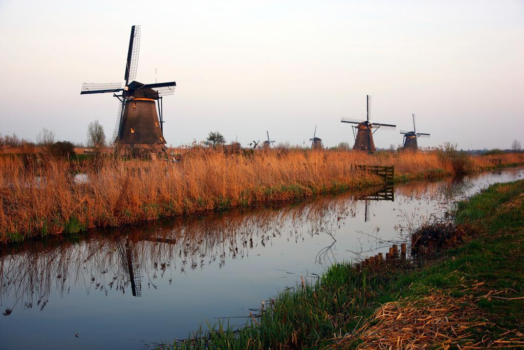 Windmuehlen   Windmuehlen in Kinderdijk, 19 historische Muehlen, die wurden fuer die Wasserhaltung an den Fluessen Lek und Noord gebaut wurden, zum Entwaessern des Gelaendes der Alblasserwaard. UNESCO Weltkulturerbe. Kinderdijk, Sued-Holland, Niederlande, Europa.