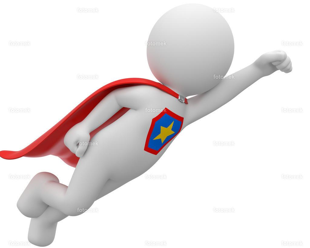 fliegender Superheld weiss