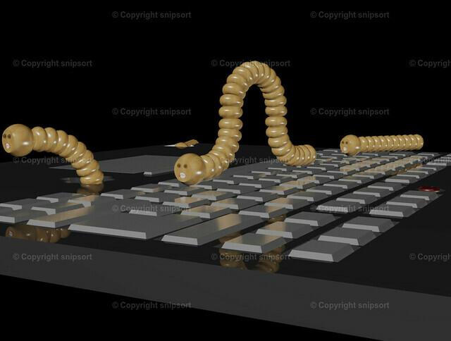 Computerwürmer (3D-Rendering) | Hölzerne Computerwürmer auf einem Notebook (3D Rendering)