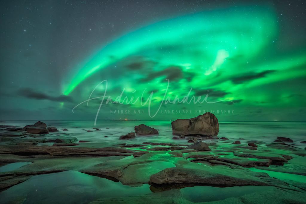 Polarlicht am Strand