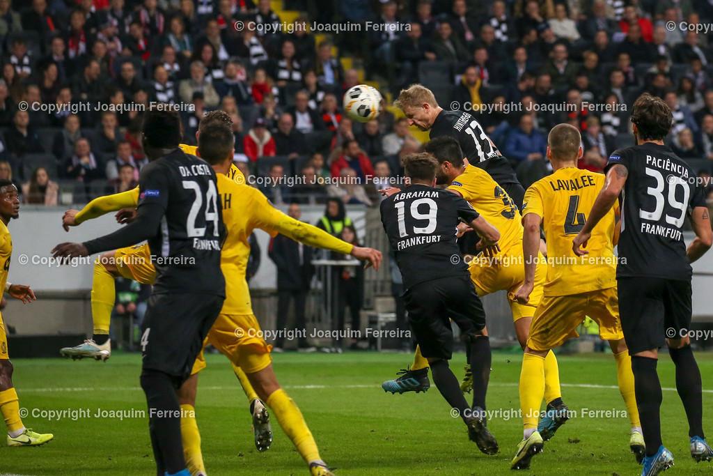 191024_sgevslie_0792 | 24.10.2019 Gruppenspiel Gruppe F UEFA Europa League Saison 2019/20 Eintracht Frankfurt - Standard Liege  emspor, emonline, despor, v.l., Martin Hinteregger  (Eintracht Frankfurt), Goal scored, Tor zum 2:0  Foto: Joaquim Ferreira (DFL/DFB REGULATIONS PROHIBIT ANY USE OF PHOTOGRAPHS as IMAGE SEQUENCES and/or QUASI-VIDEO)