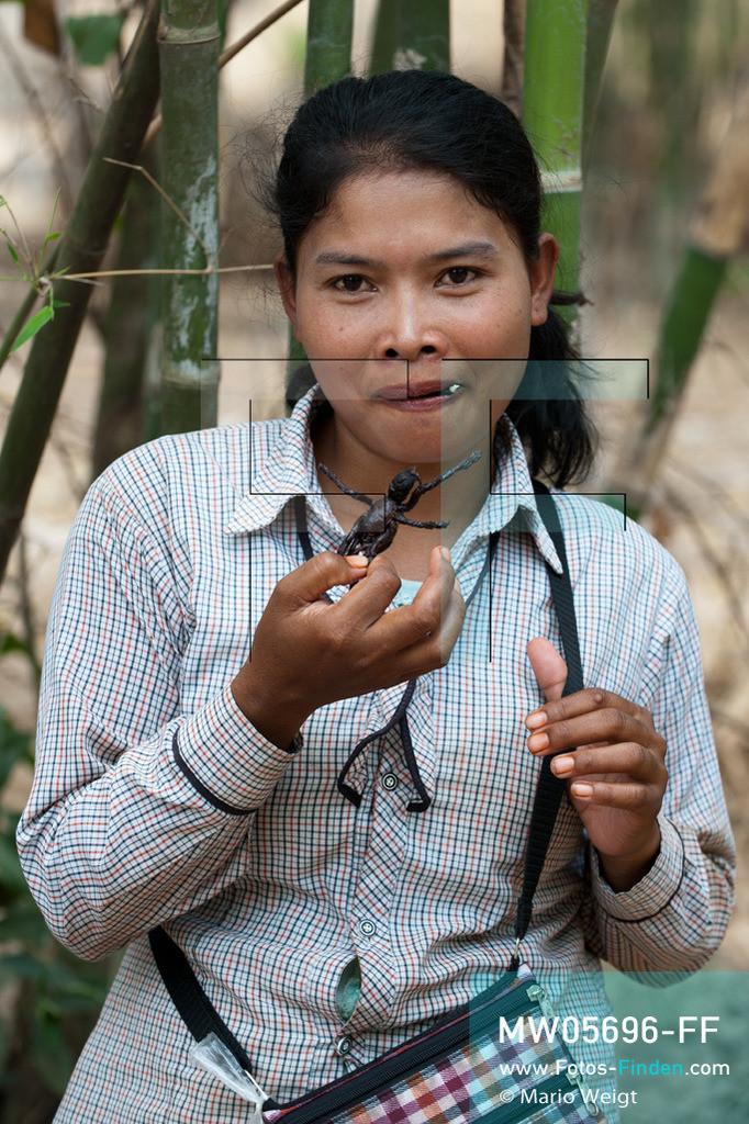 MW05696-FF | Kambodscha | Provinz Kampong Cham | Skoun | Reportage: Kambodschas achtbeiniger Snack | Vor dem Verkauf kostet die Spinnenjägerin Shin ihre Vogelspinnen.  In heißem Öl knusprig gebraten, mit Glutamat, Salz und Zucker vermischt und obendrein mit hauchdünnen Knoblauchscheiben verfeinert - so mögen die Kambodschaner ihre schwarzen Vogelspinnen.  ** Feindaten bitte anfragen bei Mario Weigt Photography, info@asia-stories.com **
