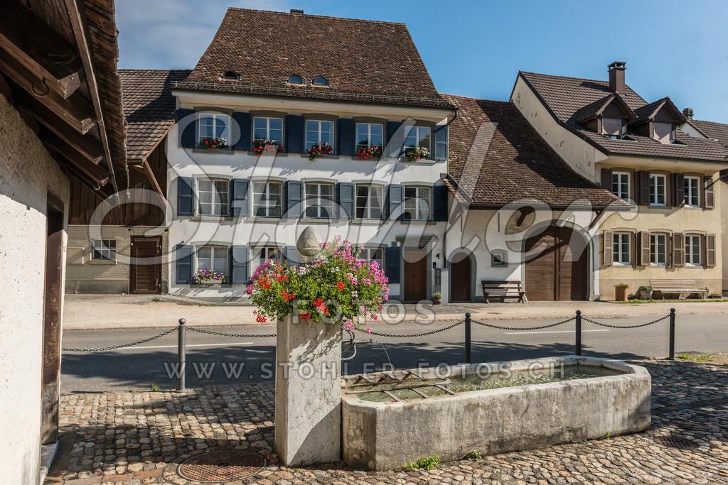 : Posamenterhaus, Ziefen (BL)   Der unterste Dorfbrunnen, im Hintergrund ehemalige Bauern- und Posamenterhäuser, Ziefen im Kanton Baselland.