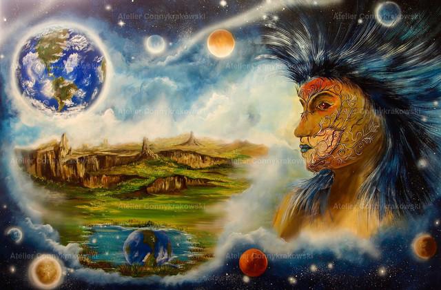 Indian dream 35 | Phantastischer Realismus aus dem Atelier Conny Krakowski. Verkäuflich als Poster, Leinwanddruck und vieles mehr.
