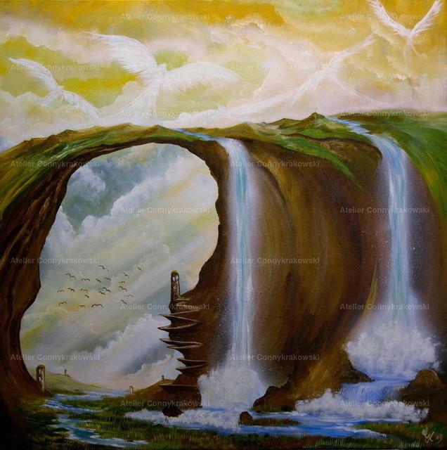 Wasserfälle-3 | Phantastischer Realismus aus dem Atelier Conny Krakowski. Verkäuflich als Poster, Leinwanddruck und vieles mehr.