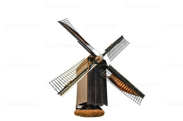 Windmühle über weißem Hintergrund | Ein Holzwindmühle über weißem Hintergrund (freigestellt)