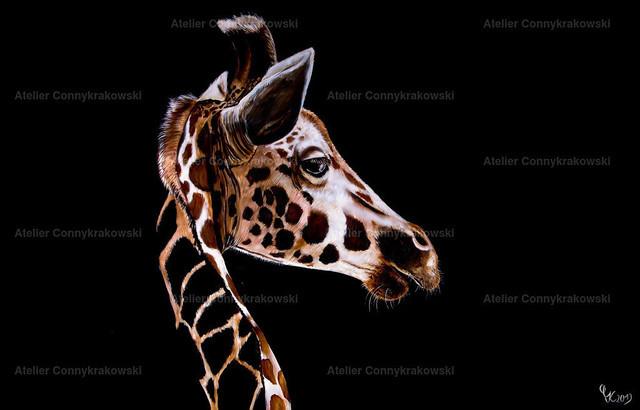 Giraffe C | Phantastischer Realismus aus dem Atelier Conny Krakowski. Verkäuflich als Poster, Leinwanddruck und vieles mehr.