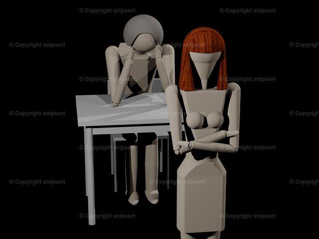 Verlassen_01_5 | Eine Frau kehrt dem Mann den Rücken zu, weil sie sich trennen will (3D-Rendering mit Holzpupen)
