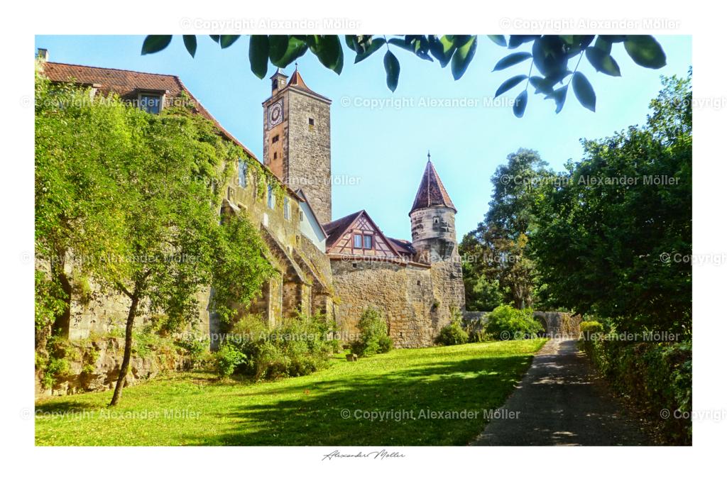 Rothenburg ob der Tauber No.85 | Dieses Werk zeigt die herrlichen Parkanlagen außerhalb der Rothenburger Stadtmauer.