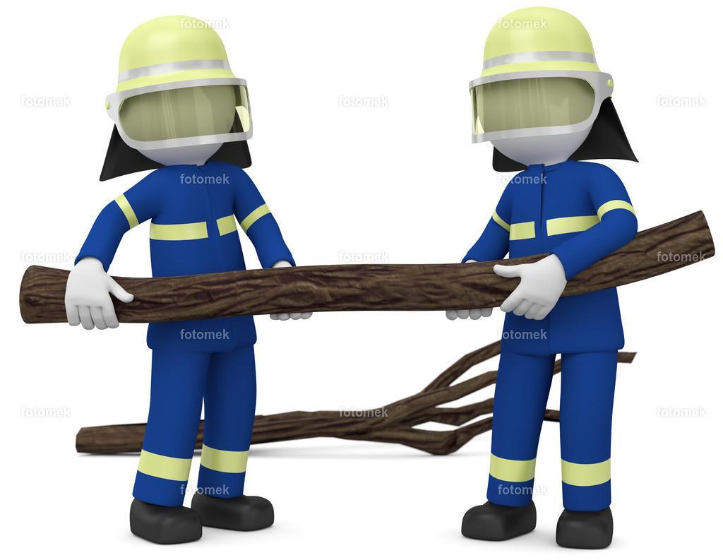 3d Männchen THW Sturm | 3d Männchen vom technischen Hilfswerk beim Unwettereinsatz.  THW Helfer räumt die Straßen von umgefallenen Bäumen frei.