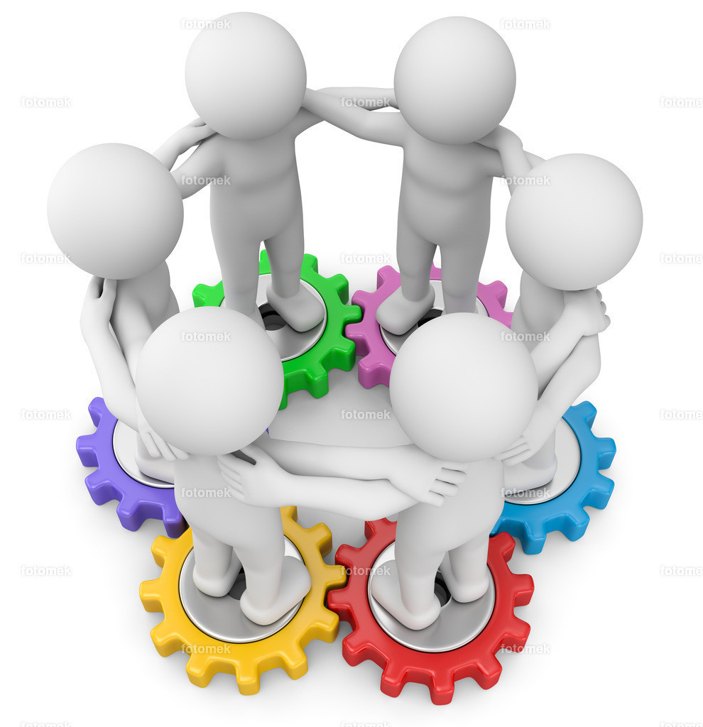 weisse 3d Männchen auf Zahnräder Teamwork | 3d männchen arbeiten als Team in der Produktion mit Zahnrädern