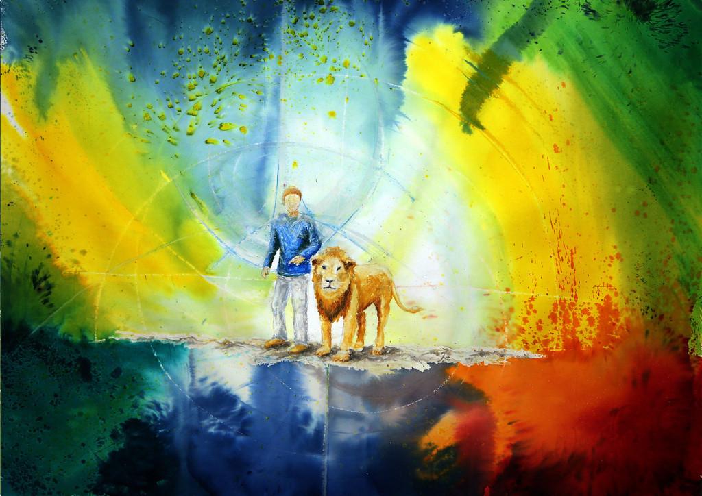 Wie ein Löwe | Es war ein interessanter Malauftrag eines Jungen Mannes. Er sah sich neben einem Löwen stehen. Diese Version gefiel ihm nicht so habe ich es für ihn nochmal anders gemalt. Ich liebe dieses Bild, die Farben und den Ausdruck