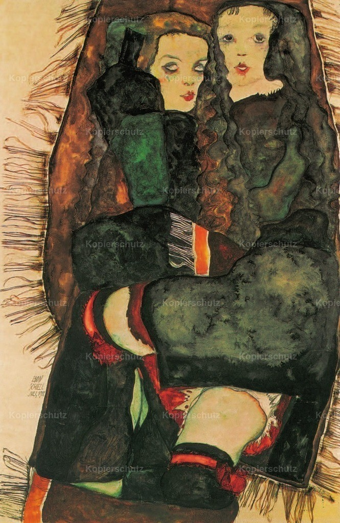 Schiele_ Egon (1890-1918) - Two Girls on Fringed Blanket 1911