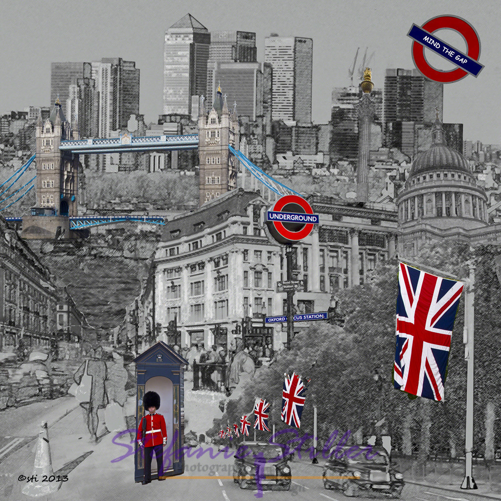 That's London, quadratisch | Schwarz-Weiß-Collage zu London in klein