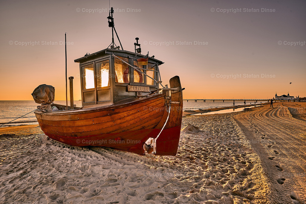 fishing boat on the beach of Usedom in the morning | fishing boat on the beach of Usedom in the morning
