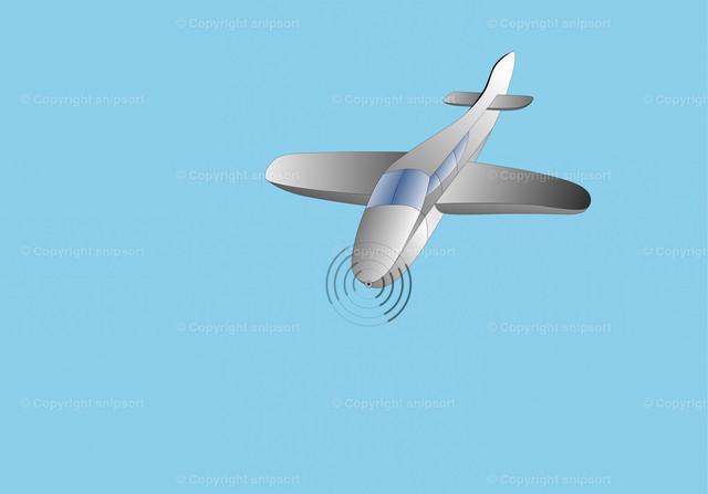 Flugzeug 1 | Ein einmotoriger Propellerflugzeug über blauem Hintergrund (Illustration).