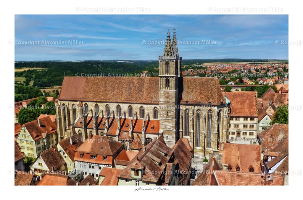 Rothenburg ob der Tauber No.84 | Alexander Möller | Dieses Werk zeigt die St.-Jakobs-Kirche, diese wurde 1485 nach 173-jähriger Bautätigkeit fertiggestellt. Anfangs katholisch, wurde sie später zur evangelischen Kirche und ist bis heute die Hauptkirche Rothenburgs.