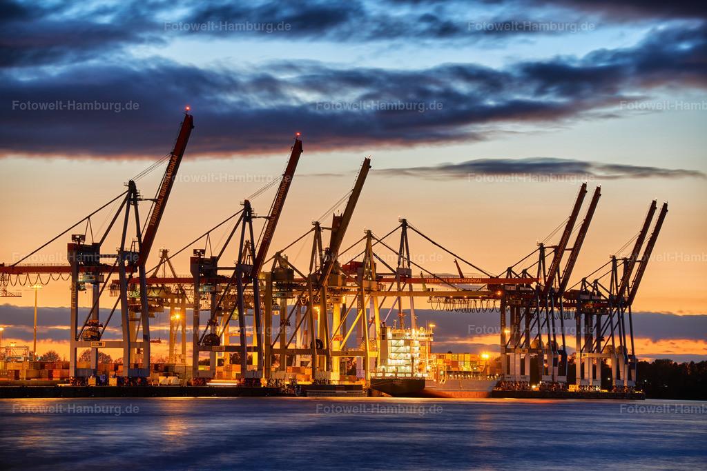 12018680 - Containerterminal Burchardkai | Der große Containerumschlagplatz bei Sonnenuntergang