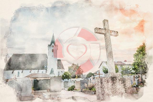 Mitterkirchen | Kirche in Mitterkirchen im kunstvollen Aquarelllook