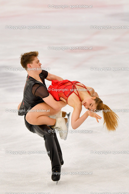 AUT, Eiskunstlaufen, Junior Grand Prix of Figure Skating 2021/2022   07.10.2021, Eishalle Linz, AUT, Eiskunstlaufen, Junior Grand Prix of Figure Skating 2021/2022, im Bild Sofia Val und Nikita Vitryanyuk (ESP) - Junior Ice Dance Rhythm Dance