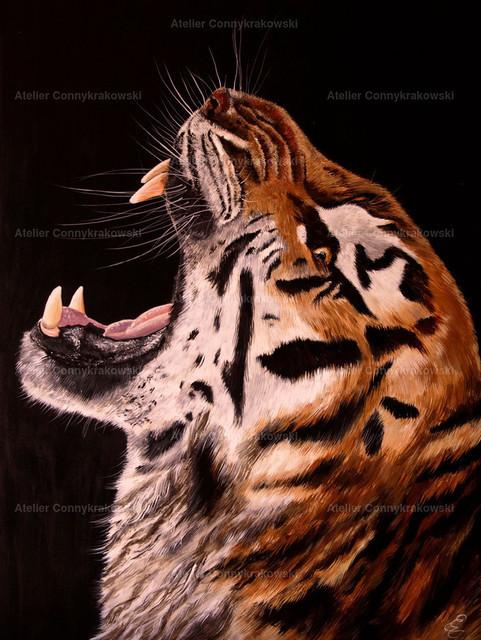Tiger | Phantastischer Realismus aus dem Atelier Conny Krakowski. Verkäuflich als Poster, Leinwanddruck und vieles mehr.