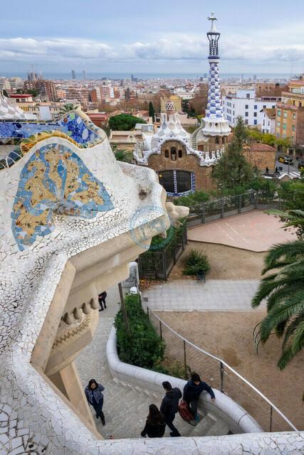 Park Güell Antoni Gaudís Garten-Parkanlage Detail   ESP, Spanien, Barcelona, 18.12.2018, Park Güell Antoni Gaudís Garten-Parkanlage Detail [2018 Jahr Christoph Hermann]