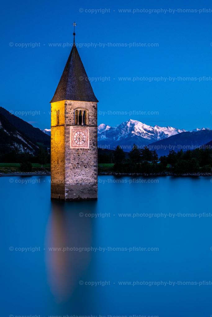 Kirche Reschensee Blaue Stunde
