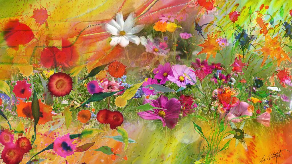 Sommerblumen_1 | Gerade schneit es aber ich wurde gebeten etwas richtig sommerliches für ein Wohnzimmer zu entwerfen ... So geselle ich meine Blumen zu den wirklich schönen, bringe Farben, Fotos und Fantasie in Schwung und bin wieder eine kleine Weile dabei, bei der großen Kunst der Natur.  so grüßt der Sommer den Winter und ich Euch.