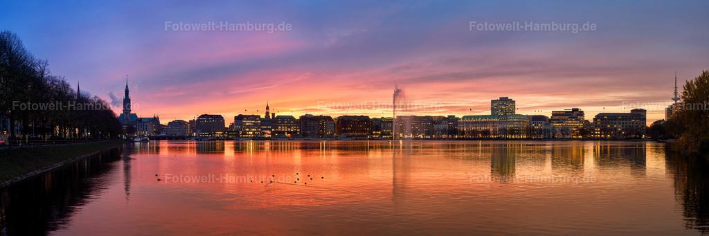 10191203 - Sunset Panorama | Traumhafter Sonnenuntergang an der Alster in Hamburg.