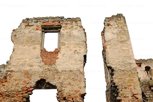 Eine freigestellte, runtergekommene Hausruine (über weißem Hintergrund) | Ruine einer Hausfassade (Detail).