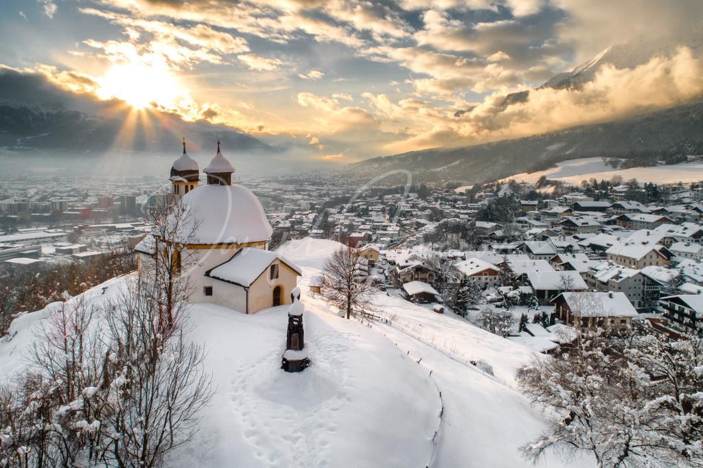 Kalvarienberg | Sonnenuntergang am winterlichen Kalvarienberg