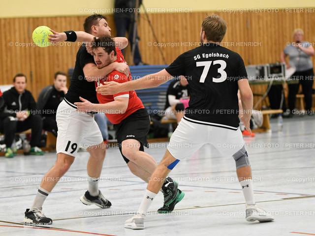 Handball Männer Landesliga MSG Rossdorf Reinheim - SG Egelsbach copyright HEN-FOTO   16.2.2020 Handball Männer Landesliga MSG Rossdorf Reinheim - SG Egelsbach (25:26) li 19 Maximilian Leptich (E) Mi 11 Andre Appel (Ro) re 73 Leon Winn (E) copyright + Foto: Peter Henrich (HEN-FOTO)