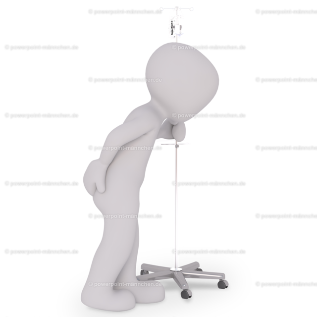 The patient has back problems and is walking through the hospital with his medicine. | Quelle: https://3dman.eu   Jetzt 250 Bilder kostenlos sichern