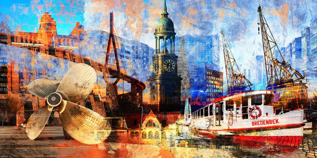 10190211 - Hamburg Collage 014 | Modernes Hamburg Wandbild mit vielen Sehenswürdigkeiten