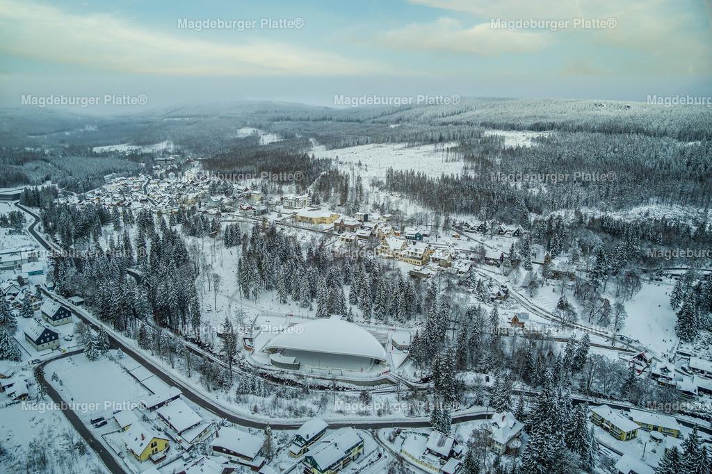 Schierke Winter-0018-2 | Luftbilder aus der Vogelperspektive von Landkreis HARZ mit Drohne oder von oben fotografiert für die Bilddatenbank der Luftbildfotografie von Sachsen - Anhalt.
