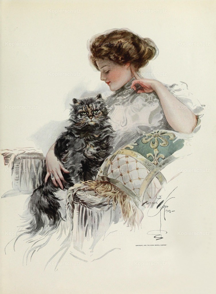 Fisher_ Harrison (1875-1934) - American Beauties 1909 - Favourite cat