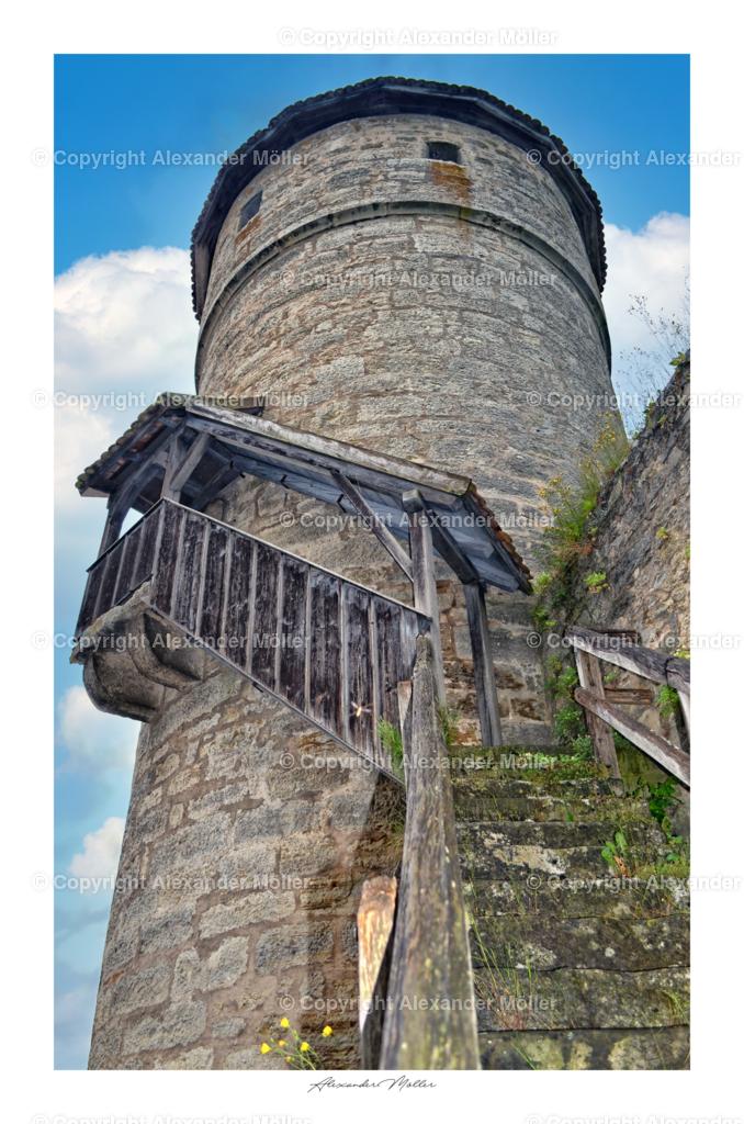 Rothenburg ob der Tauber No.44 | Dieses Werk zeigt den Strafturm für leichte Vergehen. Der Turm wurde um 1400 errichtet und ist ein Teil der Stadtmauer, er diente als Gefängnis.