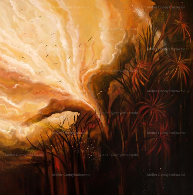 Der Ausbruch C | Phantastischer Realismus aus dem Atelier Conny Krakowski. Verkäuflich als Poster, Leinwanddruck und vieles mehr.
