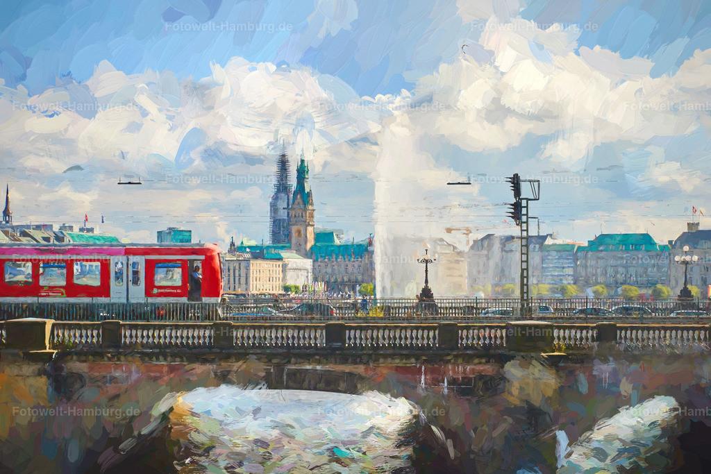 hamburg digitales gemälde lombardsbrücke und s-bahn