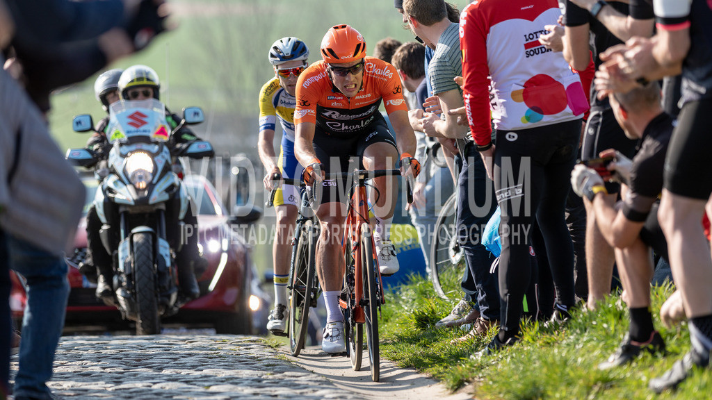Paterberg, Belgium - March 29, 2019: E3 BinckBank Classic UCI men elite road cycling event   Paterberg, Belgium - March 29, 2019: E3 BinckBank Classic UCI men elite road cycling event, Photo: videomundum